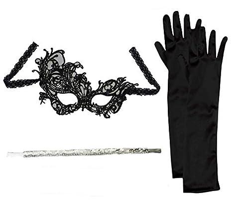 Flapper Set Mask + Black Gloves + Cigarette Holder Masquerade Fancy Dress Party