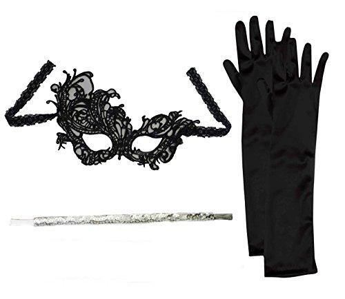 Flapper Set Maske + Schwarze Handschuhe + Zigarettenspitze Maskerade Kostümfest