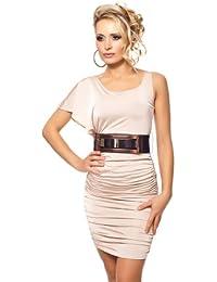 Partykleid kurz Minikleid Asymmetrisch One Shoulder Fledermausarm und mit Gürtel