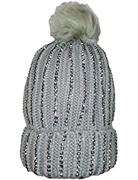96ff5c79a0e KGM Accessories Luxury Knitted Diamonte bobble hat with Faux fur pom pom  grey