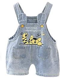 AOOPOO Adorable Jeans Mono Vaquero de Jeans, Cortos Pantalones Siameses Diseño de Dibujos Animados Gato, Moda Casual Dungarees Summer Jeans Shorts para Niños Niñas de 0-4 Años (para 12-24 Meses)