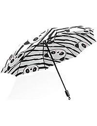 ISAOA Paraguas de Viaje automático Compacto Plegable Paraguas Panda Oso Patrón Resistente al Viento Ultra Luz