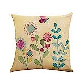 Xmiral Kissenbezüge Polyester Blume Mit Vogel Drucken 45cmx45cm Quadratischer Kissenhüllen Versteckter Reißverschluss Bettkissenbezug(D)