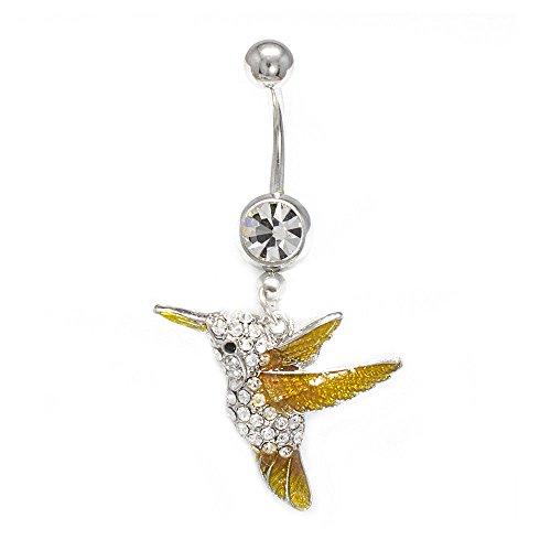 EG GIFTS Humming Bird Belly Button Ring 14G baumeln mit freiem Gem Navel Ring