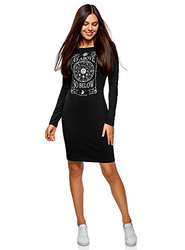 oodji Ultra Damen Tagless Enges Kleid mit Druck, Schwarz, DE 36 / EU 38 / S