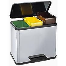 Cubo de basura con pedal Trento eco Trio 33reciclaje Hailo 0633–122