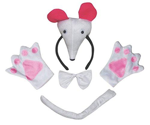 Petitebelle 3D-Maus-Stirnband Bowtie Schwanz Handschuhe Kinder 4pc Kostüm Einheitsgröße Weiß (Weiße Maus Schwanz Kostüm)