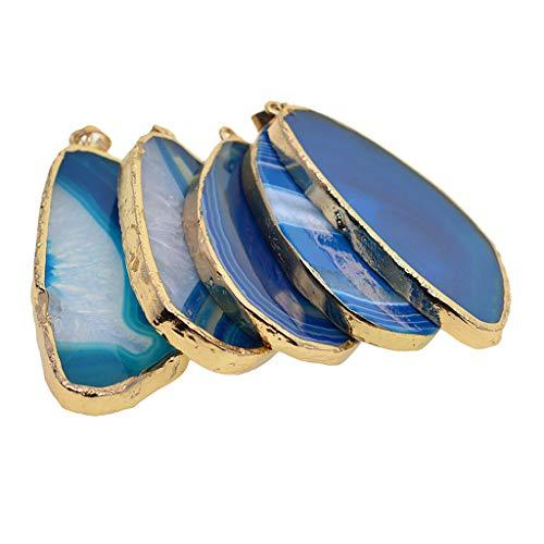 B baosity 5 pezzi lusso ciondolo fetta di agata rock paradise bella naturale ciondolo fetta placcato oro fascini gioielli fai da te regali - royal navy blue