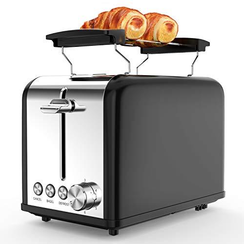 morpilot Toaster,2 Scheiben Toaster mit 6 Bräunungsstufen und Auftaufunktion, Aufwärmfunktion,Toaster Edelstahl mit Extra Breite Toastschlitze,Herausnehmbarer Krümelschublade,815W,Schwarz