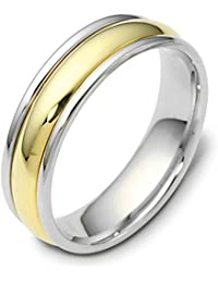 Platinum 18ct Yellow Gold, Platinum and 18k Yellow Gold 6MM Wed. Band (sz H to Z3)