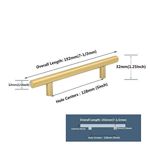 `StarEmpty Gold Schrank Griffe Möbel Schublade zieht Messing gebürstet Schubladenknöpfe Küche Schublade zieht Gold Schubladengriffe Spacing_128mm_Gold -