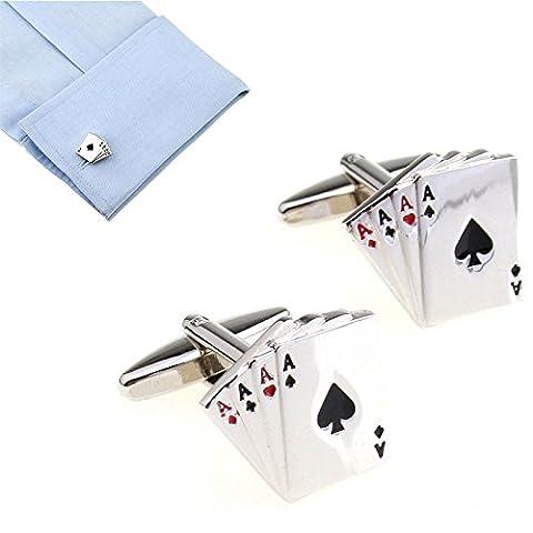 Hrph Poker Shaped Cufflinks Jewelry Shirt Cufflinks Cuff Buttons Silver Color Cuff Link For Men