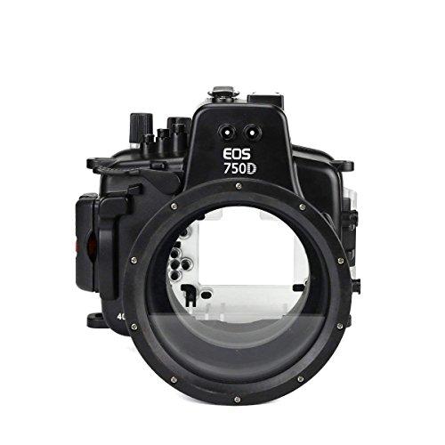CameraPlus Wasserdichtes Unterwassergehäuse für Canon EOS 750D mit 18-135 mm Objektiv bis zu 40 m Ikelite Port