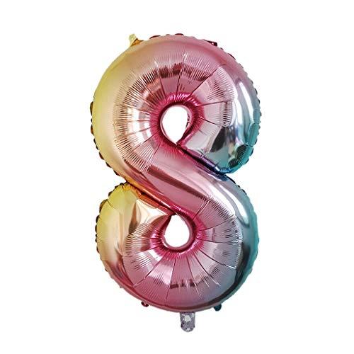 Sixcup 40 Zoll Digitaler Luftballon Rainbow Gradient Helium Folie Balloons mit großen Zahlen 0-9 Geburtstag Geburtstagsfeier Hochzeitsfeier Digitale Dekorationen (I)