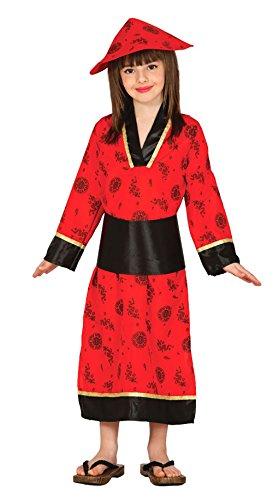 Guirca-Kostüm China mit Kleid und Mütze, für Kinder des 10-12Jahre, Rot - Geisha Kleid Kind Kostüm