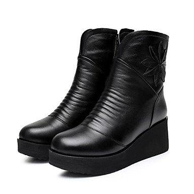 Stivali Donna Comfort Cowhide Nappa Cuoio Primavera Casual Comfort Nero Bianco Piatto Black