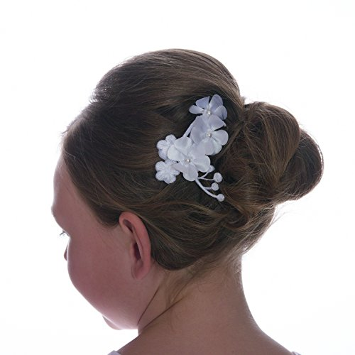 Kommunion Haarschmuck mit Kamm Haargesteck Kommunionkleid weiß o ivory (Weiß)