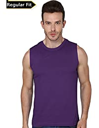 Men's Sleeveless Round Neck Tshirt-190 (Purple Colour)