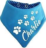 KLEINER FRATZ Gestreiftes Hundehalstuch Wendehalstuch für Hund/Katze Dog Pet Tuch mit Dem Namen Ihres Tieres