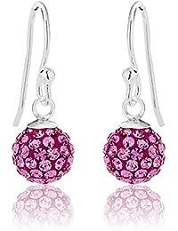 3f55b6316a57 DTPSilver – Pendientes de bola de discoteca de plata de ley 925 y cristales  de Swarovski