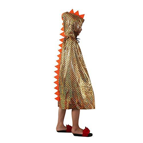 (Halloween Kostüm Dragonscale Dinosaurier Umhang mit Kapuze Gold/Silber / blau helle Tuch für Kids Boy, Mädchen Party Cosplay Maskerade Bühnenshow (Farbe : Gold))