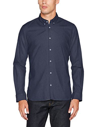 TOM TAILOR Herren Freizeithemd Floyd Soft Print Mix Shirt, Blau (Navy 01 6423), Large