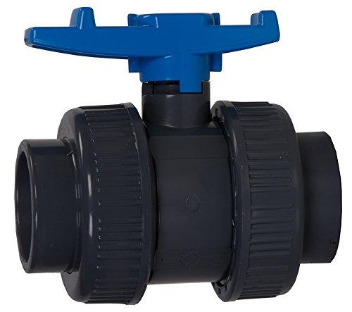 Aquaforte PVC Kugelhahn mit beidseitigen Überwurf, Ø 75 mm Klebemuffe -