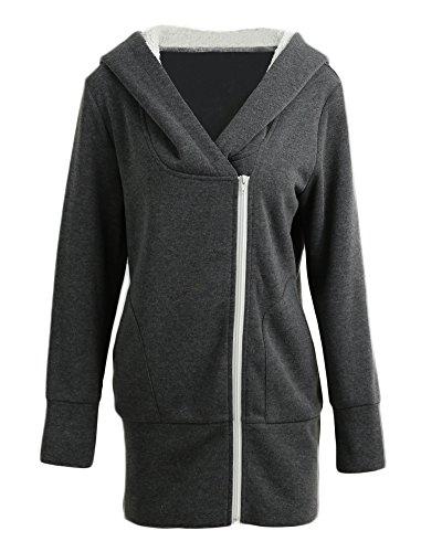 Romacci Autumn Winter Women Hoodies Coat Warm Coat Zipper Outerwear Hooded Sweatshirts Casual Long Jacket Plus Size