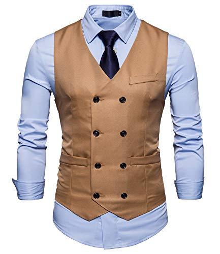 AIEOE - Chaqueta de Traje para Hombre Chaleco de Vestido sin Mangas Chalecos Casuales de Doble Botonadura de Color Sólido para Hombres - Caqui-ES 46-48