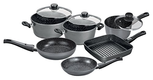 Stoneline 17541Flex Induction Cookware Set with Glass Lid and Removable Handles, Aluminium Grey, 59.4x 36.9x 31.5cm 9Units