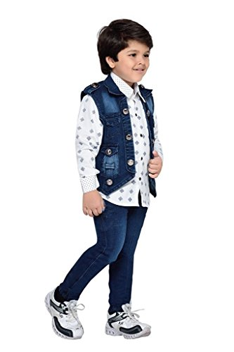 Krystle Boys Shirt,Waistcoat and Demin Set (DENIM-SET-AJ-2-3YEARS_Blue_2-3Years)