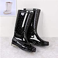 HDDTDYX Rain Boots,Women Polka Dot Rainboots Pvc Waterproof Water Shoes Outdoors Wellies Non-Slip Warm Knee-High Warm Rain Boots