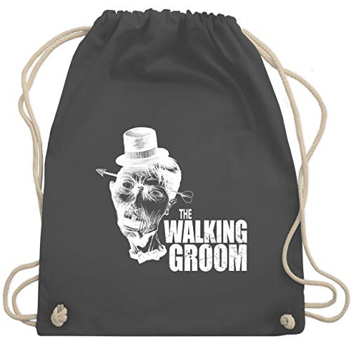JGA Junggesellenabschied - The Walking Groom weiß - Zombie JGA - Unisize - Dunkelgrau - WM110 - Turnbeutel & Gym ()