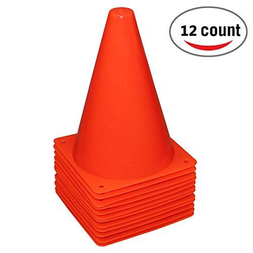 Reehut cono di traffico allenamento sportivo in plastica da 7,5 pollici (set di 12 pezzi) - rosso
