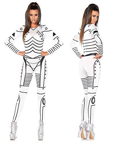 Leg Avenue 86639 - Killer Roboter sexy gedrucktes Catsuit, Damen Karneval Kostüm Fasching, M, (Kostüm Roboter)