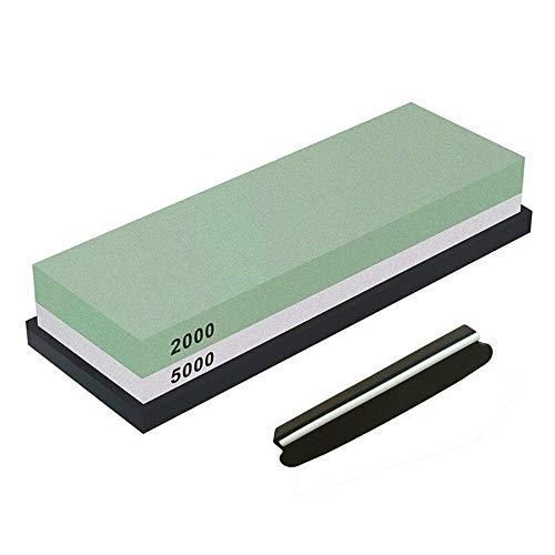 Premium Messerschärfstein-Kit 2 Side Whetstone 2000/5000 Schleifstein für das Schärfen und Abziehen Bester Spitzer für Köche & Küchenmesser mit Anti-Rutsch-Steinhalter-Basis & Winkel-Guider