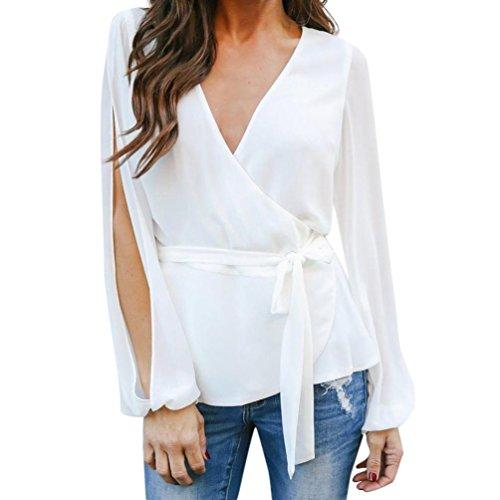 Hmeng Womens Casual Sommer Damen Chiffon Rüschen V-Ausschnitt Blusen und Tops Shirts (Weiß, 2XL)