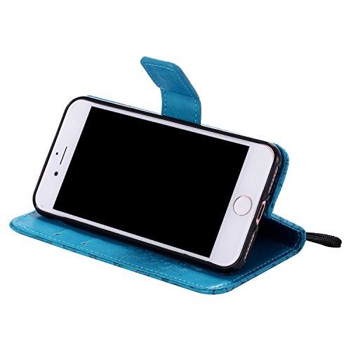 """Coque iPhone 7, SsHhUu Etui Portefeuille en Cuir PU Véritable Coque Protection à Fermeture Magnétique Stand Porte Cartes avec Stylet + Lanyard pour Apple iPhone 7 / iPhone 8 (4.7"""") Rouge Bleu"""