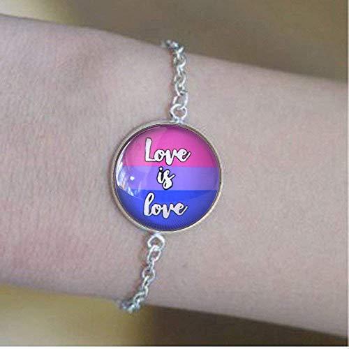 Imagen de love is love  pulsera espiritual de orgullo bisexual, brazalete espiritual de cúpula de cristal, regalo lgbt, joyería de arte de texto, joyería de sexualidad gay