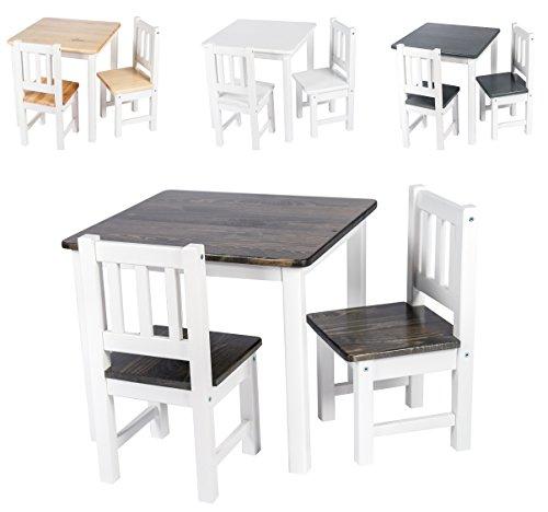 BOMI Kindermöbel Tisch mit Stühle Amy aus Kiefer Massiv Holz für Kleinkinder, Mädchen und Jungen Braun Weiß