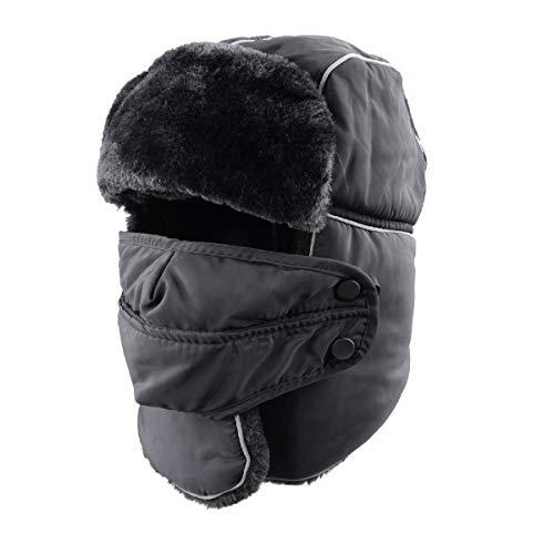TRIWONDER Winter Trooper Trapper Hat (Black - Widen Earflap, NOT ()