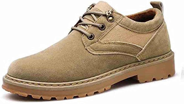 Feifei Zapatos para Hombres Invierno Ocio Antideslizante Resistente al Desgaste 2 Colores (Color : Beige, Tamaño