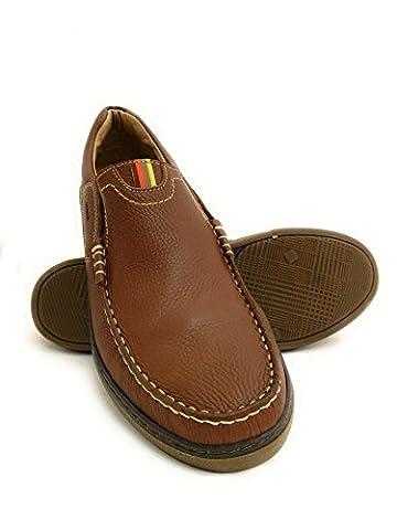Zerimar Chaussure en cuir nautique avec semelle en caoutchouc flexible 100% cuir premium Marquage design de mode Doublure intérieure Grandes tailles XXL de 47 à