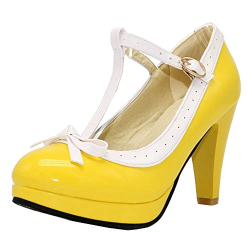 Kaloosh Women's Sweet T-Strap Bowtie Round Toe Chunky High Heels Platform Pumps Shoes Chunky Heel Platform Pumps