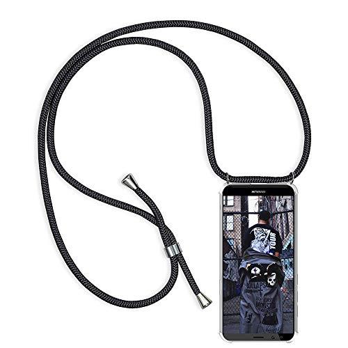 TUUT Handykette kompatibel mit Huawei Mate 10 Lite Handy-Kette Handy Hülle mit Kordel zum Umhängen Handyanhänger Halsband Lanyard Case/Handy Band Necklace [Stoßfest] - Schwarz Da-lite 150