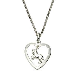 ZEEme Basic Silver – Anhänger mit Kette 935/- Sterling Silber Herz mit Pferd 45cm 500243349-45