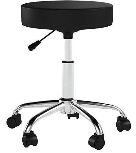 SixBros. Sitzhocker höhenverstellbar, Drehhocker mit Rollen, Hocker aus Kunstleder, verstellbar, schwarz