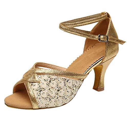 Makefortune Damen Latin Dance Schuhe mit niedrigen Absätzen Ballsaal Salsa Tango Party Pailletten Tanzschuhe Open Toe Sandalen mit Schnalle Knöchelriemen (Schnalle Pad Toe)
