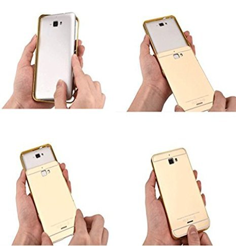 Heartly Premium Luxury Metal Bumper Frame With Acrylic Mirror Back Case Cover For HTC Desire 820 820Q 820S – Hot Gold