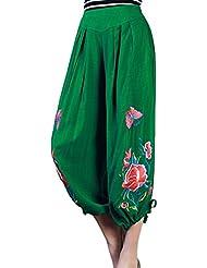 Smile YKK Nacional Cintura Alta bordado Bloomers Amplia Pierna Pantalones